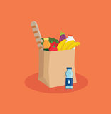 Supermarket eco paper bag full of food. royalty free stock photos