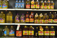 The supermarket edible oil counters Stock Photos