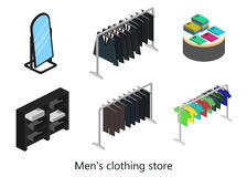Supermarket, electronics store and clothing shop banner set. With people shopping and buying products on shelves Royalty Free Stock Photos