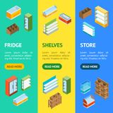 Supermarket Elements Banner Vecrtical Set Isometric View. Vector Vector Illustration