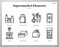 Supermarket elements Line pack royalty free illustration