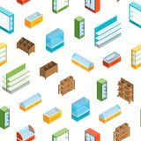 Supermarket Elements Seamless Pattern Background Isometric View. Vector Royalty Free Illustration