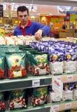 Supermarket employee stock photos