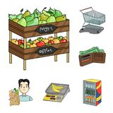 Supermarket and equipment cartoon icons in set collection for design. Purchase of products vector symbol stock web. Supermarket and equipment cartoon icons in Royalty Free Stock Images