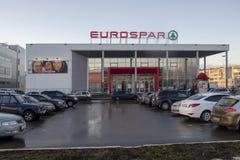 Supermarket EUROSPAR is an international retail chain. Yoshkar-Ola, Russia - April 2019 Supermarket EUROSPAR is an international retail chain and franchise royalty free stock image