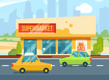 Supermarket exterior. Modern urban buildings, Cityscape with mall. Parking with cars. Vector illustration set. Building exterior, supermarket, urban store stock illustration