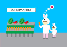 Supermarket för grönsak för frukt för folkköpgods Royaltyfri Foto