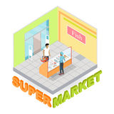 Supermarket Fish Department Isometric Vector. Supermarket fish department interior in isometric projection. Customers choosing goods in grocery store trading Stock Photography