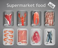 Supermarket fish and meat set Royalty Free Stock Photo