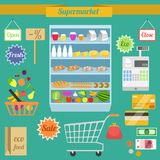 Supermarket flat set Royalty Free Stock Image