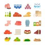 Supermarket food flat icons Stock Images