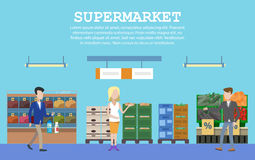 Supermarket with food and people or buyers Stock Photos