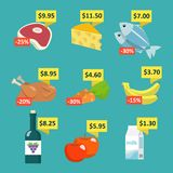 Supermarket food with price tags. Supermarket food and drink selection icons set with price tags and discount labels flat vector illustration Royalty Free Stock Photo