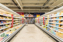 Supermarket Food In Refrigerators On Store Aisle Stock Photography