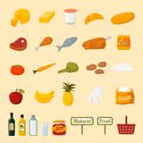 Supermarket food selection icons. Supermarket food collection advertising fresh and healthy fruits vegetables meat and oils  illustration vector Stock Photo