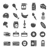 Supermarket Food Selection Icons Set Stock Image
