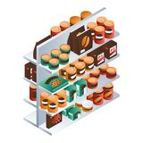 Supermarket food shelf icon, isometric style stock illustration