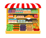 Supermarket. Food on shelves Royalty Free Stock Photography