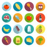 Supermarket Foods Flat Icons Set Royalty Free Stock Image