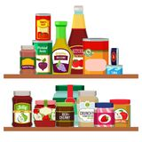 Supermarket foods. Grocery items on shelves. Supermarket food, store grocery. Vector illustration vector illustration