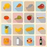 Supermarket foods icons set. Of fresh and natural vegetables fruits meat and fish  vector illustration Royalty Free Stock Images