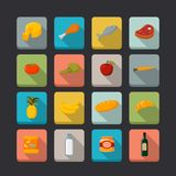 Supermarket foods icons set Stock Image