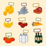Supermarket foods items with blank signs. Supermarket foods items of meat fish fruits vegetables and drinks with blank signs isolated vector illustration Stock Images