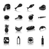 Supermarket foods pictograms Royalty Free Stock Photos