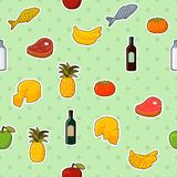 Supermarket foods seamless pattern. Of fresh and natural vegetables fruits meat and cheese vector illustration stock illustration