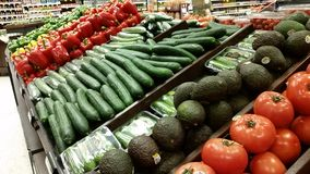 Supermarket: Fresh Fruit and Vegetables Stock Photography