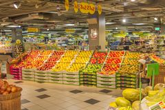 At the supermarket. Fruit lying on display in a supermarket Royalty Free Stock Image