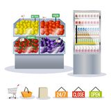 Supermarket fruits vegetables Stock Photography