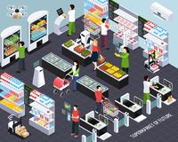 Supermarket Future Technology Isometric. Supermarket of future isometric composition with smart shelf technologies and shopping baskets scanning purchased items vector illustration