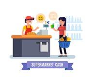 Supermarket. Girl at the cash register supermarket. Royalty Free Stock Images