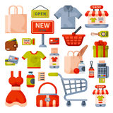 Supermarket grocery shopping flat style cartoon icons set with customers carts baskets food and commerce products Royalty Free Stock Image
