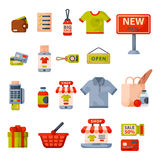 Supermarket grocery shopping retro cartoon icons set with customers carts baskets food and commerce products isolated Stock Photo