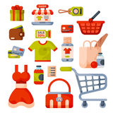 Supermarket grocery shopping retro cartoon icons set with customers carts baskets food and commerce products isolated Stock Image