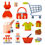 Supermarket grocery shopping retro cartoon icons set with customers carts baskets food and commerce products isolated Royalty Free Stock Photos