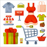 Supermarket grocery shopping retro cartoon icons set with customers carts baskets food and commerce products isolated Royalty Free Stock Photography