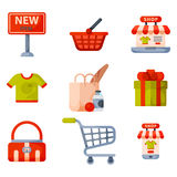 Supermarket grocery shopping retro cartoon icons set with customers carts baskets food and commerce products isolated Stock Images