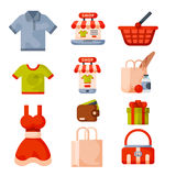 Supermarket grocery shopping retro cartoon icons set with customers carts baskets food and commerce products  Stock Photo