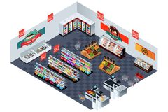 Supermarket Grocery Store in Isometric Illustration Stock Image