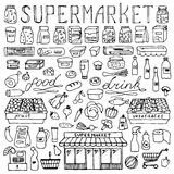 Supermarket hand drawn doodle set Stock Images