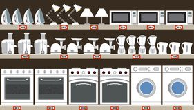 Supermarket of household appliances. Kitchen equipment Stock Images