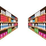Supermarket, hyllan med mat och drinkpacken boxas Prislapp på kuggar Illustration med design för plan och fast färg stock illustrationer