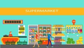 Supermarket i plan stil också vektor för coreldrawillustration Arkivbild