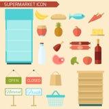 Supermarket Icon Flat Royalty Free Stock Photography