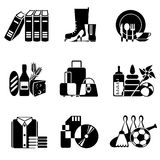 Supermarket icons. Set vector black and white icons of goods and wares in supermarket Stock Photo