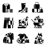 Supermarket icons. Set vector black and white icons of clothing and accessories Royalty Free Stock Images
