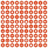 100 supermarket icons hexagon orange Stock Images